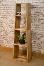 Mantis Tapered Cube Bookcase Solid Mango Wood Room Divider Natural Dakota MAN043