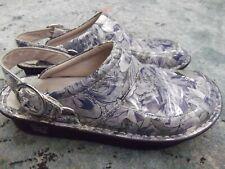 Alegria Seville Womens Mules Clogs Size 39/ 8.5- 9 blue gray Floral Print. Pr