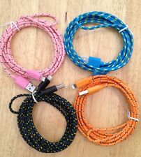 4x 6ft 2M COLOR ASSORTED Long BRAIDED Cable Charger Fits iPhone 5 5c 5s 6 7 Cord