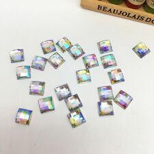NEW 100pcs 8MM Resin Square Flatback Scrapbooking For DIY Craft Making White AB&
