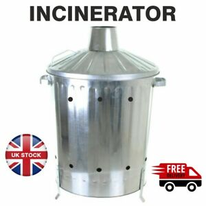 60L Medium Garden Galvanised Incinerator Fire Bin Burning Wood Paper Letter Leaf