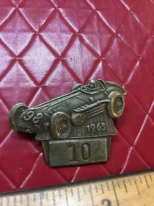 1963 Indy 500 Pit Pass Badge Indianapolis 500 Silver #10