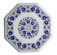 1.5' White Marble Coffee Table Top Mosaic Lapis Floral Inlay Kitchen Decors W153
