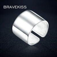 Big Punk 925 Sterling Silver Adjustable Wide Ring Finger Unisex Women Sample