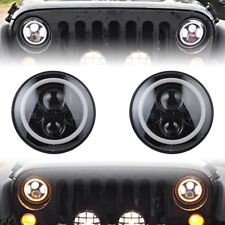 "7"" Inch Round LED Headlights Halo Angle Eyes For LAND ROVER DEFENDER 90 110 E9"