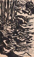 Peinture Jean Louis Bertrand sous bois encre sur carton signée dédicacée