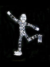 Elegant Rhinestone Male Ice Skater Lapel Pin - Sparkling Crystals