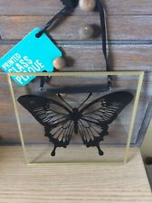 job lot of 24 Black Printed Butterfly Clear Glass Hanging Plaque new