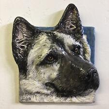 Norwegian Elkhound Dog 3d Pet Portrait Ceramic basrelief sculpture AlexanderArt