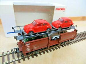 Märklin 4613 H0 Car Carrying Wagon DB With 4 VW Beetles Loaded New Boxed