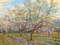 Van Gogh 1888, White Orchard, Canvas Print Fade Resistant HD Art Print or Canvas