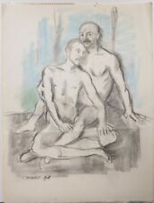 Male nude double portrait drawing Vito Tomasello NYC gay artist