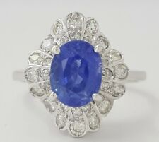 2.53 ct 14K White Gold Oval Natural Sapphire & Diamond Fashion / Engagement Ring