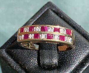 9ct Yellow Gold Ruby and Diamond Ring Size O