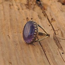 Amethyst Agate Gemstone Rock Ring Antique Brass Gold Anti Tarnish Gift Boxed