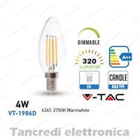 Lampadina led V-TAC dimmerabile 4W = 30W E14 bianco caldo 2700K VT-1986D candela