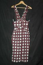 """New listing Vintage 80s Narrow Skirt 7 25"""" waist Overall Plaid Grunge Made in Usa Suspenders"""