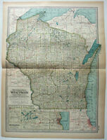 Original 1911 Map of Wisconsin by The Century Company. Antique