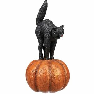 "8"" Glitter Scaredy Black Cat On Pumpkin Halloween Holiday Retro Decor Figurine"