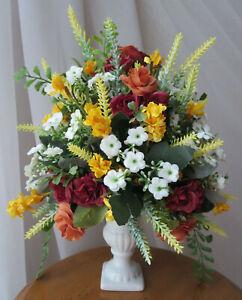"BEAUTIFUL ARTIFICIAL SILK/PLASTIC FLOWERS ARRANGEMENT IN VASE 12.5"" x 10.5""  NEW"