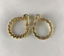 Hoop Chain Gold Tone Vintage Clip On Earrings