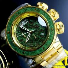 Invicta Subaqua Sea Dragon Aztec Gold Plated 52mm Green Wooden Inlay Watch New
