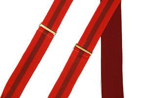 Trafalgar Snappy! Red Striped Men's Suspenders Braces Silk Leather Dandy Preppy