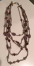 Jewelry Brown/Tan Layered Fashion Necklace Beaded Five Strand Costume