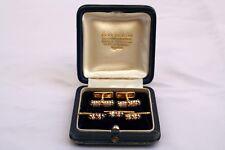 MAGNIFICENT BOUCHERON FRENCH 18K GOLD DIAMOND SAPPHIRE CUFFLINKS & STUDS
