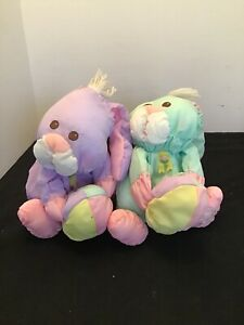 2 Fisher Price Puffalump Bunny Rabbit Easter Green Purple 1988 Vintage