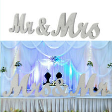 Mr & Mrs Letters Sign Silver Wooden Standing Top Table Wedding Decoration