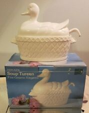 Vintage Himark Fine Ceramic Duck Soup Tureen with Ladle