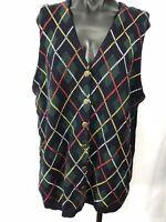 Vintage Womens Petite Size S LIZ CLAIBORNE Knit Button Pattern Sweater Vest