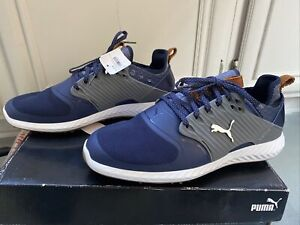 New SAMPLE Puma Golf- Ignite PWRADAPT Caged Shoes Peacoat/Silver/Quiet Shade 9