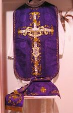 Agnus Dei Purple Chasuble Vestment Fiddleback 5 Pcs+Maniple,Stole,Veil,Burse