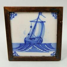 ANTIQUE DUTCH DELFT BLUE & WHITE POTTERY SAILING SHIP TILE C.1750