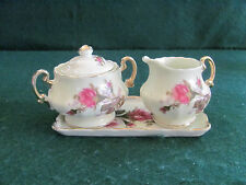 VTG ROYAL SEALY MOSS ROSE SUGAR & CREAMER SET SET WITH TRAY GOLD SCROLL
