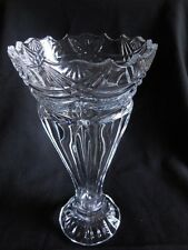 "Vase Collectible Lead Crystal Vase Hand cut  12"" tall 6"" wide opening Decorative"