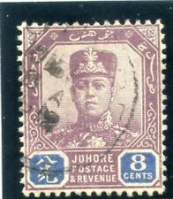 Malaya Johore 1904 KEVII 8c dull purple & blue very fine used. SG 66. Sc 64.