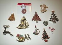 Large Jewelry Lot Vintage CHRISTMAS JEWELED - RHINESTONE BROOCH Collection