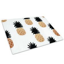 Black White Gold Pineapple Glass Chopping Board Kitchen Worktop Saver Protector