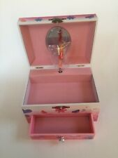 New in Box Musical Jewelry Storage Box with Spinning Fairy , Pink. Drawer. Gir