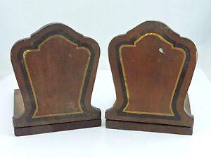 Vintage Primitive Handmade Homemade Wooden Bookends Book Ends Arts & Crafts # 2