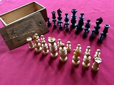 """Antique """"Chessmen The Wonder"""" REGENCY Chess Set,Ebony,Boxwood,King 75mm,Old Box"""