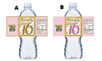 20 SWEET 16 SIXTEEN PINK WHITE & GOLD BIRTHDAY PARTY FAVORS WATER BOTTLE LABELS