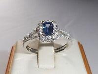 Ladies Hallmarked 925 Sterling Fine Silver Tanzanite & White Sapphire Dress Ring