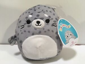 """Squishmallow 5"""" Isis Grey Spotted Seal Sea Life"""