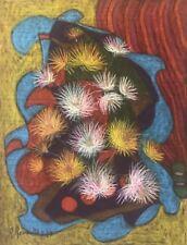 Superbe grand pastel Abstraction et Nature morte signé R Revaute Abstrait 1979,,