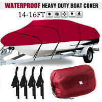 14-16FT Heavy Duty 210D Boat Cover Waterproof For Fishing Ski Bass V-Hull Red