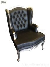 Wing Back Chair Victorian Black Leather Antique Reproduction Chesterfield Silver